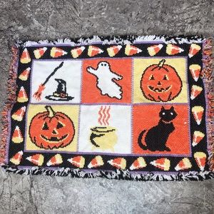 Vintage Halloween Place Mat Pumpkin Black Cat